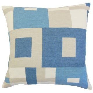 Hoya Geometric Linen Down and Feather 18-inch Throw Pillow