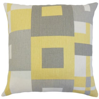 Hoya Yellow Geometric Linen Down and Feather 18-inch Throw Pillow