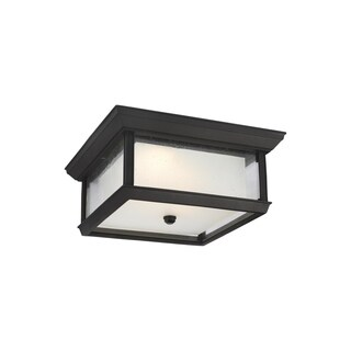 Feiss StoneStrong 2 - Light Outdoor LED Flush Mount, Textured Black