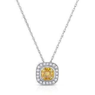 Solaura Collection 14k White Gold 1ct TW Bezel-set Lab-Grown Diamond Pendant (Fancy Yellow, SI)