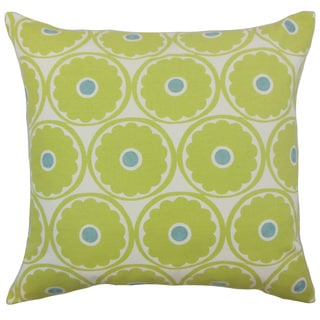 Day Green Floral Down and Feather Filled 18-inch Throw Pillow
