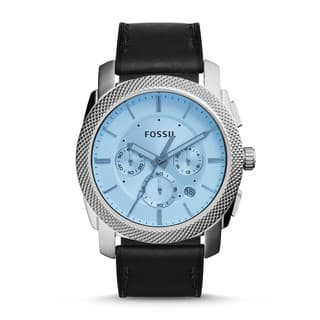 Fossil Men's FS5160 Machine Chronograph Silver Dial Black Leather Watch|https://ak1.ostkcdn.com/images/products/11089542/P18096526.jpg?impolicy=medium