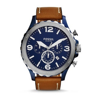 Fossil Men's JR1504 Nate Chronograph Blue Dial Brown Leather Watch