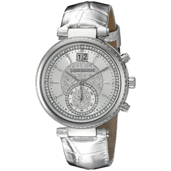 michael kors women 39 s mk2443 sawyer chronograph crystal pave silver dial grey leather watch