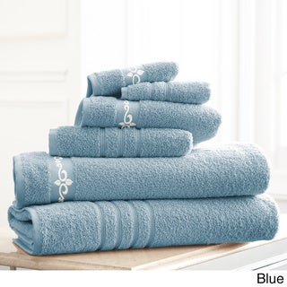 Amraupur Overseas Fleur Swirl Embroidery Cotton 6-piece Towel Set