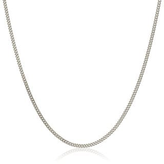 Pori Italian 18k White Gold Cuban Chain Necklace