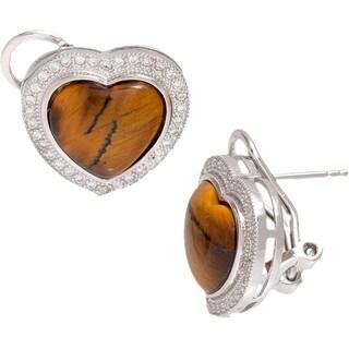 Pori Sterling Silver Genuine Cubic Zirconia Heart Earrings