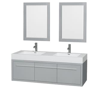 Wyndham Collection Axa 60-inch Dove Grey  Acrylic Resin Top Double Vanity with Integrated Sinks and 24-inch Mirrors