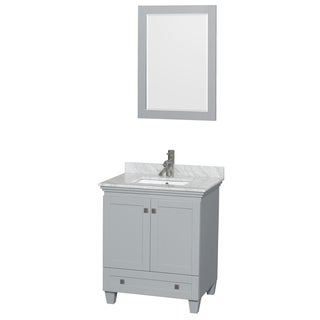 Wyndham Collection Acclaim 30-inch Oyster Grey Single Vanity with Undermount Square Sink and 24-inch Mirror
