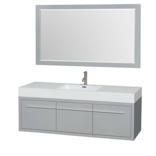 Wyndham Collection Axa 60-inch Dove Grey Acrylic Resin Top Single Vanity with Integrated Sink and 58-inch Mirror