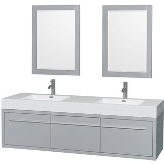 Wyndham Collection Axa 72-inch Dove Grey Acrylic Resin Top Double Vanity with Integrated Sinks and 24-inch Mirrors