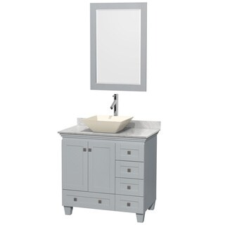 Wyndham Collection Acclaim 36-inch Oyster Grey White Carrera Marble Top Single Vanity with 24-inch Mirror