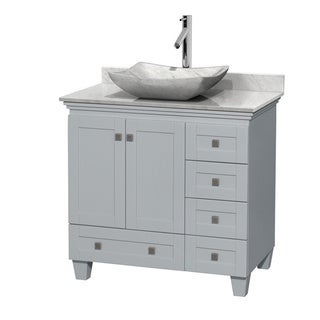 Wyndham Collection Acclaim 36-inch Oyster Grey White Carrera Marble Top Single Vanity
