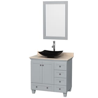 Wyndham Collection Acclaim 36-inch Oyster Grey Ivory Marble Top Single Vanity with 24-inch Mirror