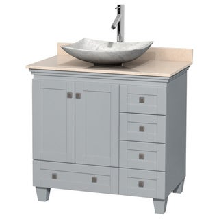 Wyndham Collection Acclaim Oyster Grey 36-inch Ivory Marble Top Single Vanity
