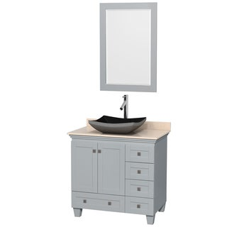 Wyndham Collection Acclaim Oyster Grey Ivory Marble Top 36-inch Single Vanity with 24-inch Mirror