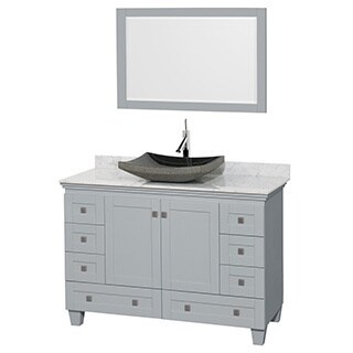Wyndham Collection Acclaim Oyster Grey White Carrera Marble Top 48-inch Single Vanity with 24-inch Mirror