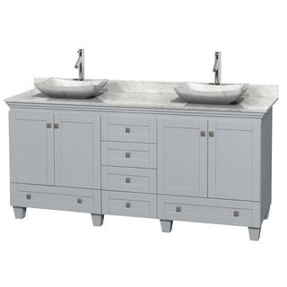Wyndham Collection Acclaim Oyster Grey 72-inch Double Vanity with White Carrera Marble Top