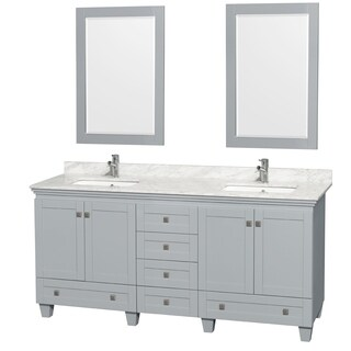 Wyndham Collection Acclaim 72-inch Oyster Grey Double Vanity with Undermount Square Sinks and 24-inch Mirrors