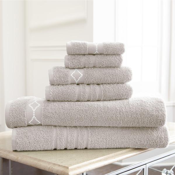 Amraupur Overseas Diamond Embroidery Cotton 6-piece Towel Set