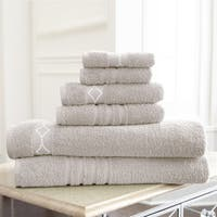 Amraupur Overseas Diamond Embroidery Cotton 6-piece Towel Set