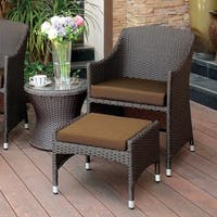 Furniture of America Olivanne 2-piece Espresso Wicker Inspired Arm Chair and Nesting Ottoman Set