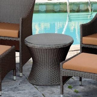Furniture of America Olivanne Espresso Wicker Inspired Glass Top End Table