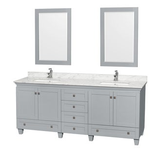 Wyndham Collection Acclaim 80-inch Oyster Grey Double Vanity with Undermount Square Sinks and 24-inch Mirrors