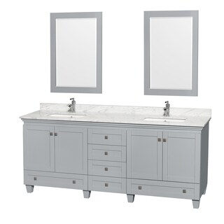 Wyndham Collection Acclaim 80-inch Oyster Grey Double Vanity with Undermount Square Sinks and 24-inch Mirrors (2 options available)