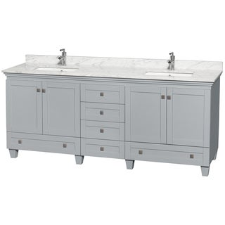 Wyndham Collection Acclaim 80-inch Oyster Grey Double Vanity with Undermount Square Sinks