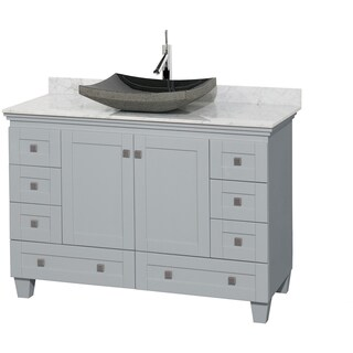 Wyndham Collection Acclaim 48-inch Oyster Grey White Carrera Marble Top Single Vanity