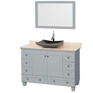 Wyndham Collection Acclaim 48-inch Oyster Grey Ivory Marble Top Single Vanity with 24-inch Mirror (3 options available)