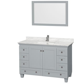 Wyndham Collection Acclaim 48-inch Oyster Grey Single Vanity with Undermount Square Sink and 24-inch Mirror