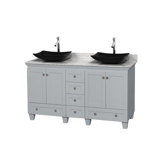 Wyndham Collection Acclaim 60-inch Oyster Grey Double Vanity with White Carrera Marble Top