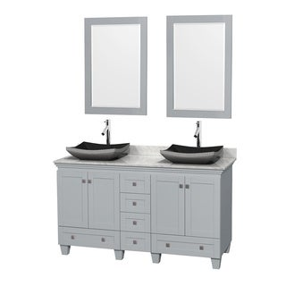 Wyndham Collection Acclaim Oyster Grey 60-inch Double Vanity with White Carrera Marble Top 24-inch Mirrors
