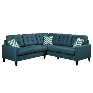 Porter Harlow Deep Teal Sectional Sofa with Woven Accent Pillows