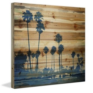 Parvez Taj - Blue Palms Painting Print on Natural Pine Wood