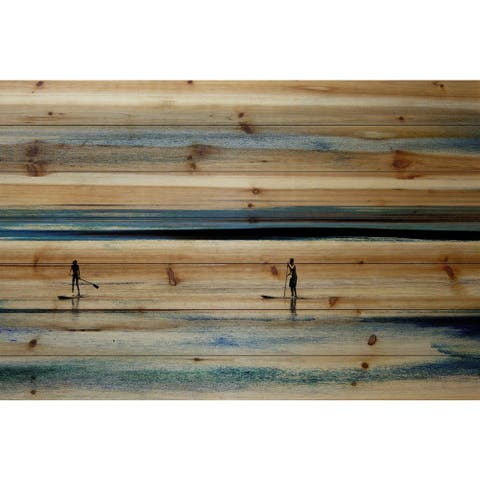 Parvez Taj - Surfboard Paddling Painting Print on Natural Pine Wood