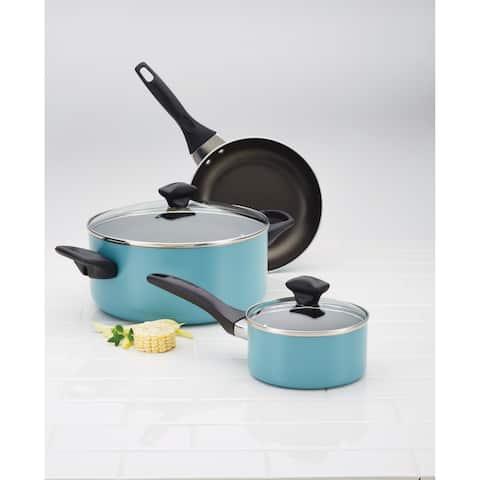 Farberware(r) Dishwasher Safe Nonstick Aluminum 1-Quart Covered Straining Saucepan with Pour Spouts, Aqua