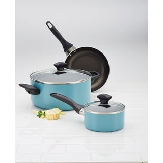 Farberware(r) Dishwasher Safe Nonstick Aluminum 1-Quart Covered Straining Saucepan with Pour Spouts, Aqua