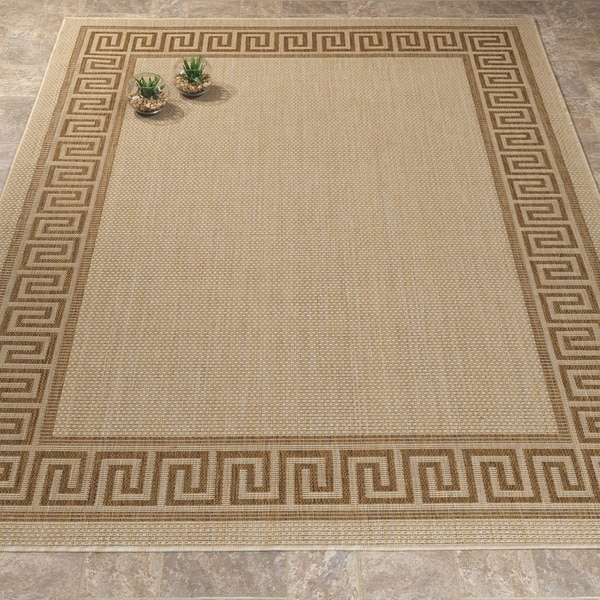 "Jardin Collection Greek Border Indoor/Outdoor Area Rug - 5'3"" x 7'3"""