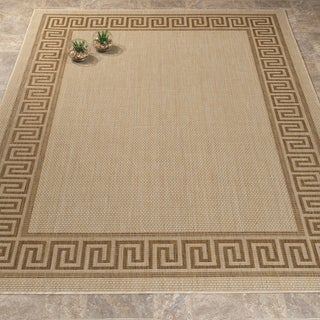 Jardin Collection Greek Border Indoor/Outdoor Area Rug (5'3 x 7'3)