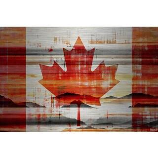 Parvez Taj - Canadian Leaf Painting Print on Brushed Aluminum