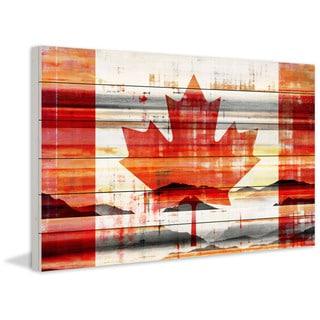 Parvez Taj - Canadian Leaf Painting Print on White Wood
