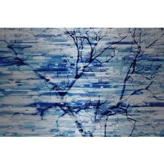 Parvez Taj - Blue Snow Storm Painting Print on Brushed Aluminum