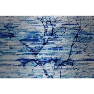 Handmade Parvez Taj - Blue Snow Storm Print on Brushed Aluminum