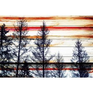 Parvez Taj - Red Striped Sky Painting Print on White Wood
