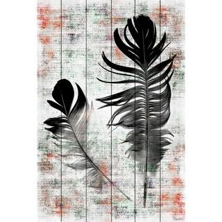 Handmade Parvez Taj - Black Feathers Print on White Wood