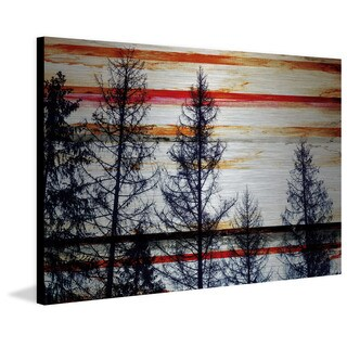 Parvez Taj - Red Striped Sky Painting Print on Brushed Aluminum