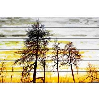 Parvez Taj - Trees Against Gold Sky Painting Print on White Wood